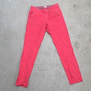 Madewell Coral color linen/cotton trouser pants